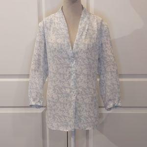 Laundry by Shelli Segal gray & white blouse
